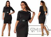Платье женское черное с кожей ОМ/-283