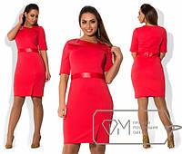 Платье женское красное с кожей ОМ/-283 50, коричневый