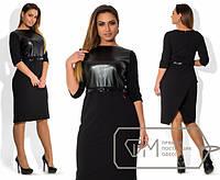 Платье женское с черной кожей на груди ОМ/-297 50, красный