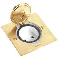 Розетка напольная квадратная бронза, Legrand
