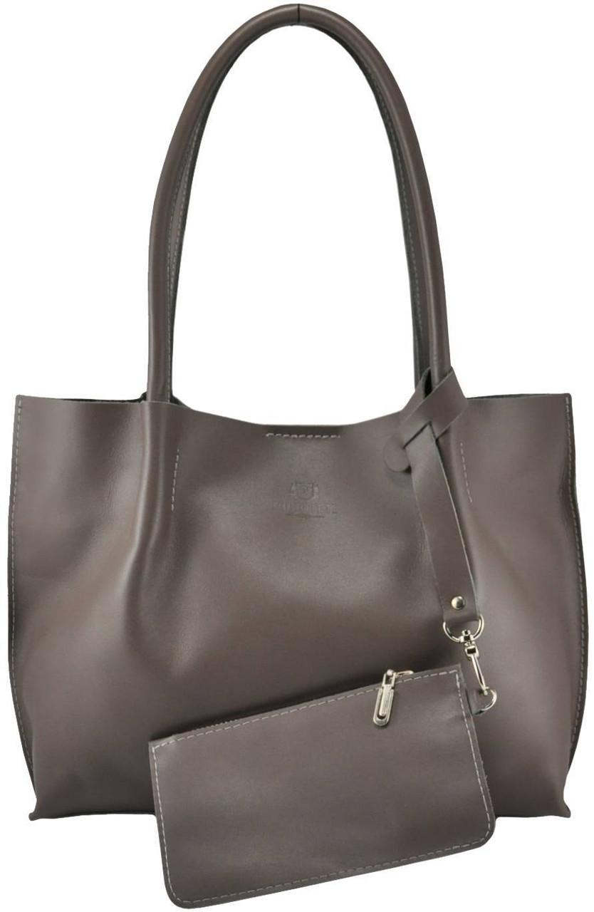 Женская кожаная сумка 827 темно-серая