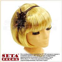 """Коричневый обруч на голову для волос """"Орхидея"""" с сеточкой и стразами"""
