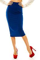 Женская стильная юбка на каждый день длинная синяя 42-48