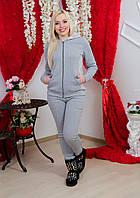 Костюм женский утепленный св-сер+розовый
