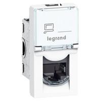 Купить Механизм компьютерной розетки RJ45 кат. 5е UTP 1 модуль, Mosaic белый, Legrand