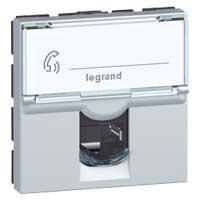 Купить Механизм телефонной розетки RJ11 2 модуля, Mosaic белый, Legrand