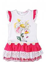 Нарядное летнее платье, ромашка с девочкой, 3 яруса, итальянский бренд