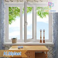 "Трехстворчатое пластиковое окно 1800x1400 ALMplast цена ""Окна Маркет"""