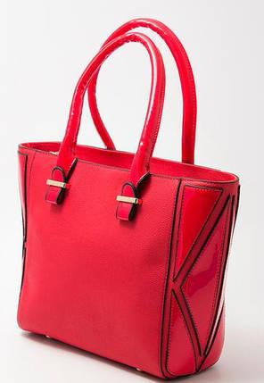 Сумка женская с лаковыми вставками красного цвета, фото 2