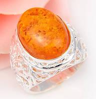 "Кольцо хит ""Янтарное солнце""камень янтарь, ручной работы  серебра 925 пр.18 размер"