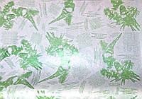 Крафт-бумага подарочная (для цветов) Салатовые розы на белом фоне 10 м/рулон