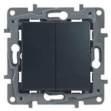 Механизм выключателя/переключателя 2-кл., Etika антрацит, 672612