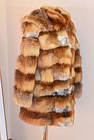 Шуба из натуральной лисы (трансформер) с капюшоном. Длина 85 см