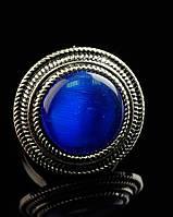 Красивое кольцо с натуральным камнем Кошачий глаз