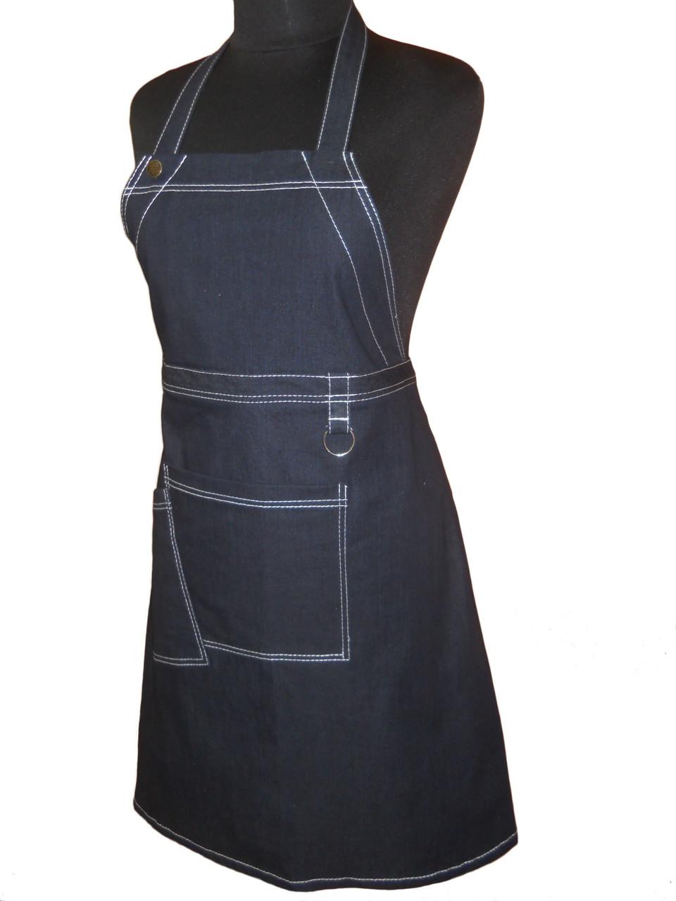 Передник джинсовый с нагрудником для официанта Atteks  - 00417