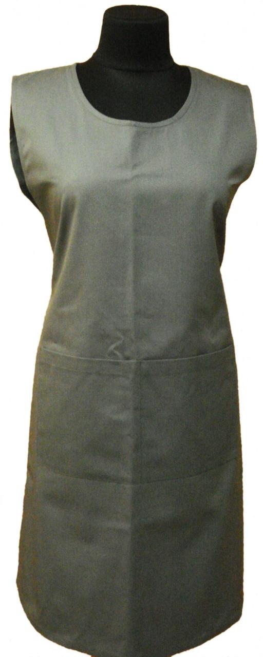 Передник-сарафан для уборщицы, горничной серый Atteks - 00416