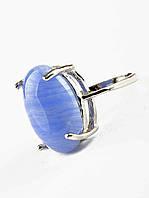 Модное кольцо с Голубым агатом