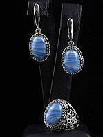 Украшения с натуральным камнем голубой агат