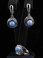 Женский набор с камнем голубой агат