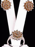 Серьги и кольцо с натуральным камнем фианит