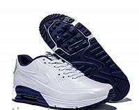 Кроссовки мужские Nike Air Max Lunar 90 белые с синей подошвой