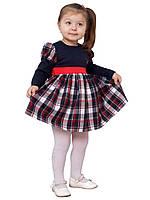 Платье  детское с длинным рукавом   М -1031 рост 80 86 92 т 98 синее в клетку, фото 1