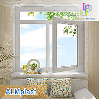 """Пластиковые окна с фрамугой 1400x1700 ALMplast  """"Окна Маркет"""""""
