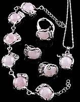 Украшения с розового кварца женское