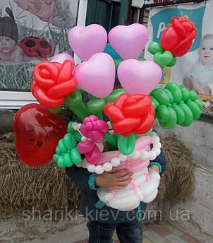 Корзина цветов (букет) из шариков Розы, сердечка, на 8 марта, на День рождения , фото 2