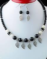 Женский набор украшений из натурального камня агат