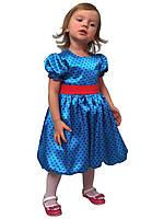 Платье нарядное детское из атласа с поясом М -1030  рост 80 86  92. 98. 104, фото 1
