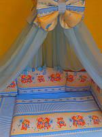 """Комплект постели в детскую кроватку из 8-ед. голубого цвета """"поцелуйчики"""" №155 ТМ""""Asik"""""""