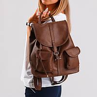 Рюкзак с карманами в коричневом материале №1363r1