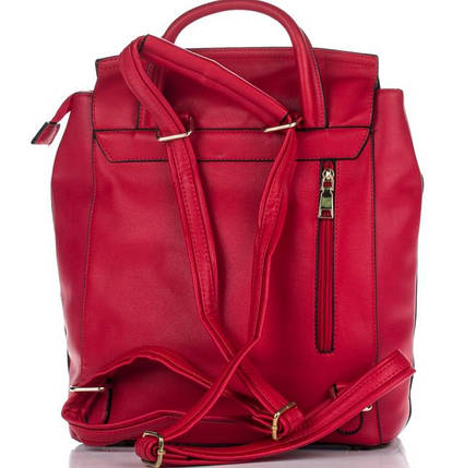 Вместительный женский рюкзак из искусственной кожи красного цвета, фото 2
