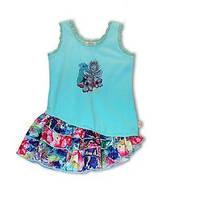 Платья летние платье цветная юбка ассиметрия, верх голубой дев. голубой 95 % хлопок, 5 % эластан K54018 Pezzo