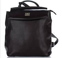 Вместительный женский рюкзак из искусственной кожи шоколадного цвета