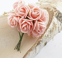Розы из фоамирана нежно розовые (5 шт.)