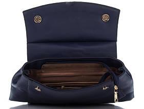 Вместительный женский рюкзак из искусственной кожи синего цвета, фото 3