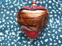Кулон - сердечко из муранского стекла 3х3см Мурано S-01, фото 1