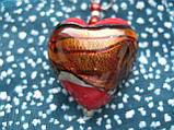 Кулон - сердечко из муранского стекла 3х3см Мурано S-01, фото 3