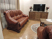 """Шкіряний диван і крісла на дубі """"BOSS"""",кожаная мебель, шкіряний комплект меблів"""