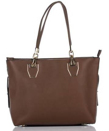 Сумка в сумке женская из искусственной кожи коричневого цвета, фото 2