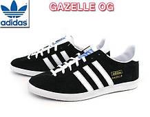Кроссовки Adidas Gazelle OG мужские (натуральная замша, реплика) размер 41-44 черный