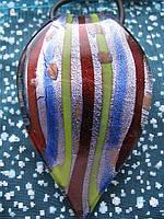 Кулон - листик из муранского стекла 6x4см F-06