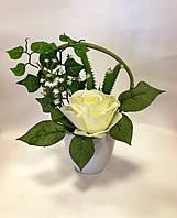 Букет искусственных цветов вазоне, Н 27 см, Роза, гипсофилла, плющ, Подарки и сувениры, Днепропетровск