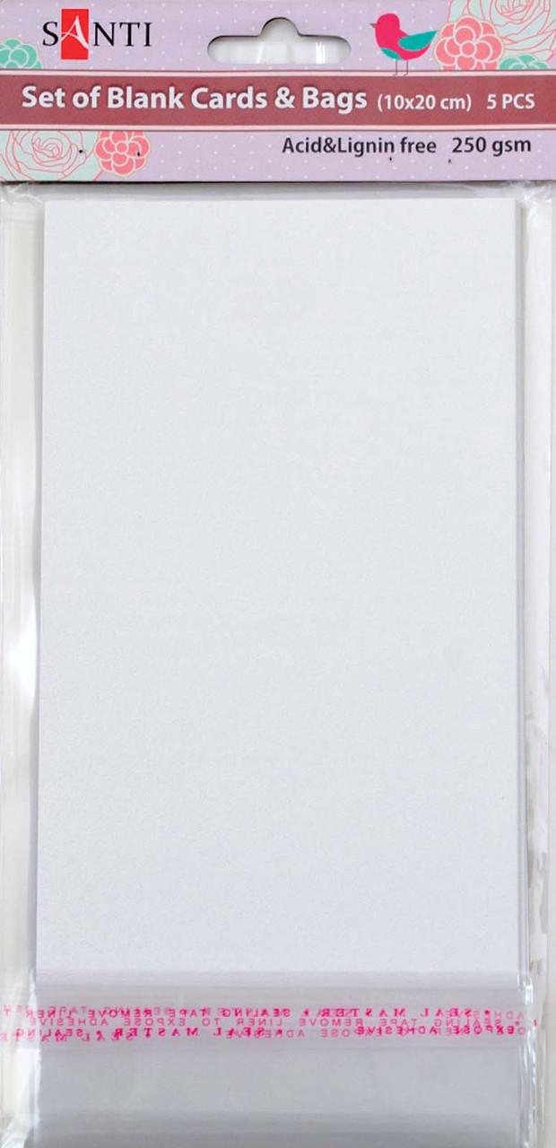 """Набор белых перламутровых заготовок для открыток, 10см*20см, 250г/м2, 5шт.   952260 - Интернет-магазин """"Гранд""""  в Киеве"""