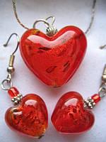Набор - сердечко красное из муранского стекла , фото 1