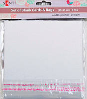 Набор белых перламутровых заготовок для открыток, 15см*15см, 250г/м2, 5шт.   952250