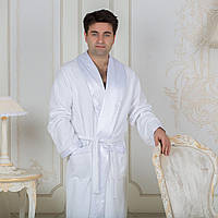 Махровый мужской халат с атласным воротником Austin. Белый S, все размеры.