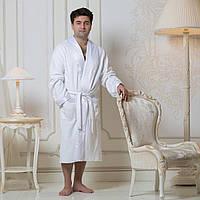 Махровый мужской халат с атласным воротником Austin. Белый L, все размеры.